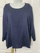 David Nieper Silk Blouse Size 20 Navy Blue Polka Dot Made In England Plus Size