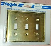 Vintage Angelo Brass Finish Triple Gang Wall Plate Switch Cover New 74834