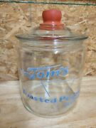 Vintage Tom's Toasted Peanuts Delicious Jar With Red Glass Lid- Cookie Jar