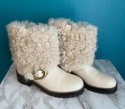 Coach Leighton Beige Leather Lamb Fur Block Heel Ankle Boots Womenand039s Size Us 7b