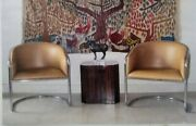 1970and039s Pair Thonet Tubular Chairs - Anton Lorenz Design Leatherette Upholstery