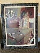 Sabzi Limited Edition Giclee Of Woman Wine Piano 53 X 43 Canvas Framed Oil 1993