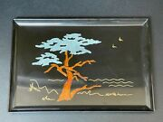 Couroc Of Monterey Ca. Signed Morse Lone Cypress Tree Inlaid Wood Tray 18 X 12.5