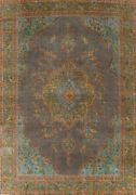 Antique Overdyed Traditional Oriental Area Rug Evenly Low Pile Hand-knotted 9x12