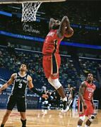 Zion Williamson New Orleans Pelicans Signed 8 X 10 Dunk In Red Jersey Photo