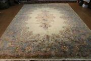 Antique Kirman Rug 9and039 X 12and039 Hanmdade Hand Knotted Beige Background Floral