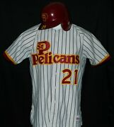 Game Worn Tito Landrum St. Pete Pelicans Sr. League Home Jersey And Helmet 21