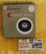 Vintage 1958 Pleasantime Professional Roulette Wheel Felt 1 Ball And 100 Chips