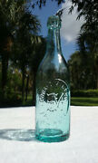 Tumbled - 1880's Antique Blob Top Edward Miller Beer Bottle Clear With Blue