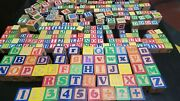 300 Vintage Wooden Alphabet Picture Number Blocks Small And Large 14 Lbs
