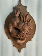 Pair Antique Hand Carved Black Forest Wall Plaques