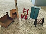 Vintage Miniature Wooden Doll House Furniture Country Farmhouse Hand Crafted