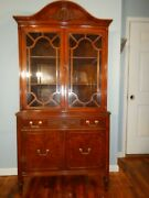 Antique Sheraton Style Flame Walnut China Display Curio Cabinet Carved Fretwork
