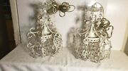 Pair Of Vintage Ornate Metal Hearts And Flowers Chandeliers With Glass Beads