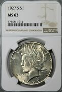 1927 S Ms 63 Pcgs Peace Dollar - Bright White - Very Nice Coin