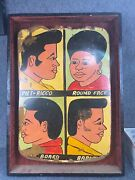 North African Barbershop/hair Salon Hand-painted Sign Circa 1950and039s 25x35 Rare