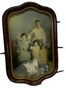 Antique Bubble Glass Picture Frame With Pictures 18x12