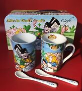 Paul Cardew Disney Alice In Wonderland Cafe Two 9oz Mugs And Two Spoons Set Case