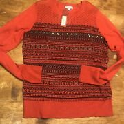 Merona For Target Red Fair Isle Embellished Sweater Small Nwt