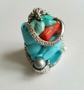 Women's Sterling Silver 925 Ring With Turquoise, Pearl And Red Coral Size 6.5