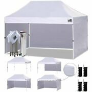 Eurmax 10'x15' Ez Pop-up Canopy With 4 Removable Zipper End Side Walls