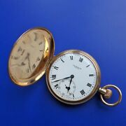 English Menand039s Pocket Watch Spring Cover Gold - 9k Good Function Ca.1928