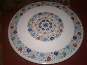 42 Marble Dining Table Top Inlay Rare Stones Round Center Coffee Table Ar1298
