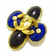 Gold Coco Mark Blue And Black Color Stone Brooch Auth 090604