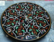 30and039and039 Marble Inlay Table Top Pietra Dura Home Garden Antique Coffee Decor B71