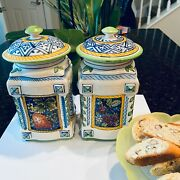 2 Hand Painted Ceramiche Ima Montelupo Italy Berries And Leaf Cookie Jars