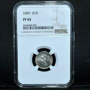 1889 Proof 3 Cent Nickel ✪ Ngc Pf-65 ✪ 3cn 3c Scarce Date L@@k Now ◢trusted◣