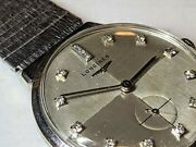 Vintage Late 1950s Longines Rajah 14k White Gold Mens Watch With 14 Diamond Face