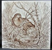 Wedgwood 8 Inch Transfer Printed Tile With Snipe On Nest, 1876, Hunting Series