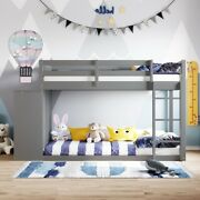 Gfd Home - Twin Over Twin Bunk Bed With 4 Drawers And 3 Shelves- Gray - Lp000...