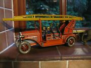 Tippco Fire Engine Germany Wind Up Tinplate Toy Vintage Tin Ladder Truck No Car