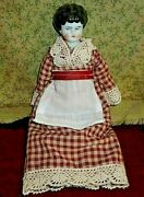 Antique German China Head Doll - Hertwig, 8 Low Brow