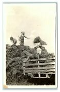 Postcard Men Stacking Hay On Cart Forks Overalls Rppc Ma20