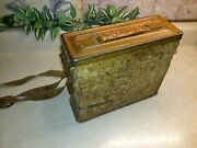 Vintage Rare Wwii Era - Leather Wrapped Inside And Outside -special Ammo Box