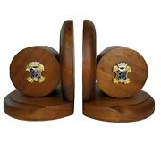 8th Infantry Regiment Bookends Insignia Walnut Wood Us Army Fighting Eagles Wwii