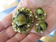 Collectible Miriam Haskell Style W Germany Green Tiger Eye Earrings And Brooch