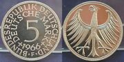 5 Dm 1966 F Germany J.387 Silver Currency Coin Pf, Rare Mint Mark