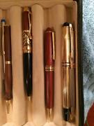 Writing Pens, Various, Collectible, In Leather Bound Pen Collection Box