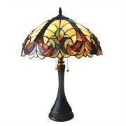 Pair Victorian Design Style Stained Glass Table Desk Lamps Beautiful