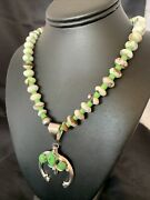 """Navajo Green Turquoise Gaspeite Sterling Silver Spiny Necklace Pendant 22"""" 10523"""