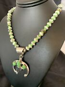 """Navajo Green Turquoise Gaspeite Sterling Silver Spiny Necklace Pendant 22"""" 10524"""