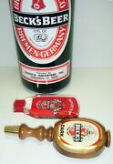 """Vintage Beck's Beer 23"""" Bottle Coin Bank And 2 Tap Handles"""