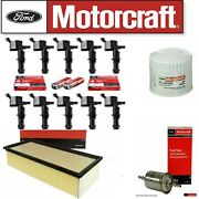 Tune Up Kit Coils + Motorcraft Filter And Plugs For 05-2007 F450 Super Duty 6.8l
