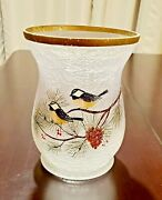 Yankee Candle Winter Birds Frosted Crackle Glass Jar Holder