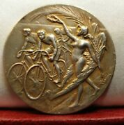 1900s Rare French Silver 40mm Medal Nudes Lady Awards Cyclists Race Cycling
