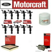 Tune Up Kit Coils + Motorcraft Filter And Plugs For 05-2008 F250 Super Duty 6.8l